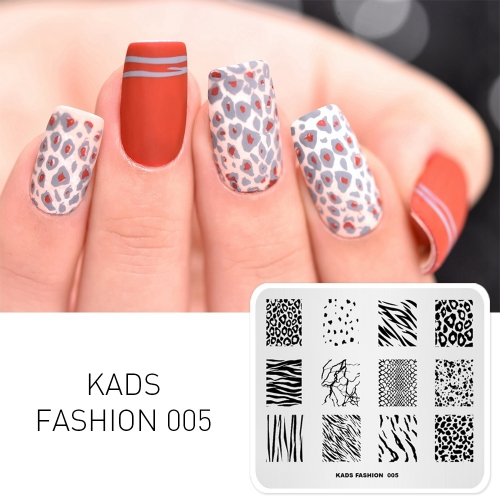 FASHION 005 Nail Stamping Plate Leopard & Zebra & Snake & Cow Pattern