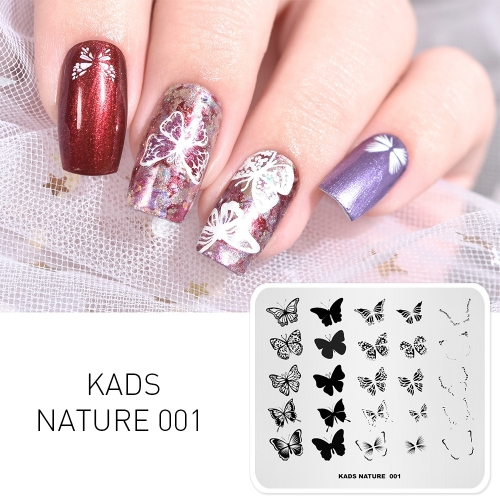 NATURE 001 Nail Stamping Plate Nature Butterfly