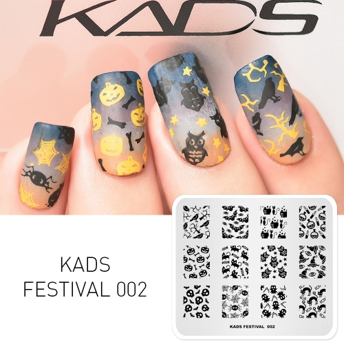 FESTIVAL 002 Nail Stamping Plate Festival Halloween & Bat & Spider & Pumpkin & Owl & Black Cat & Magic