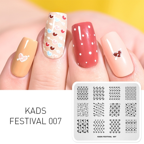 FESTIVAL 007 Nail Stamping Plate Festival Valentine's Day & Love