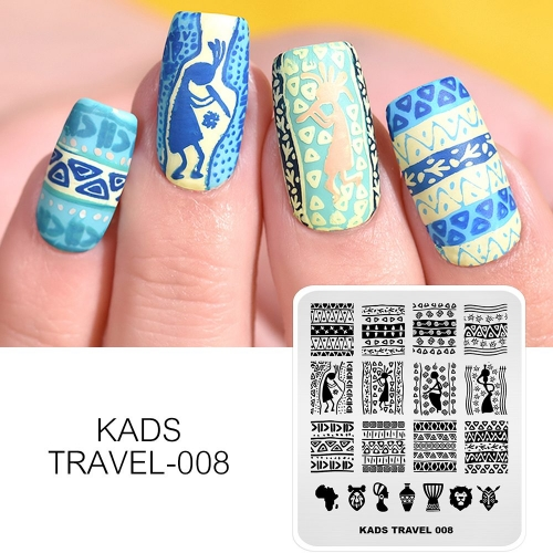 TRAVEL 008 Nail Stamping Plate Ancient Africa & Bohemian Style
