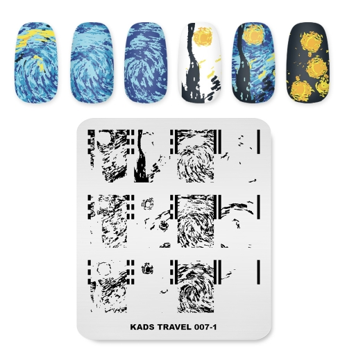 TRAVEL 007-1 Nail Stamping Plate Oil Painting & Starry Sky & Van Gogh