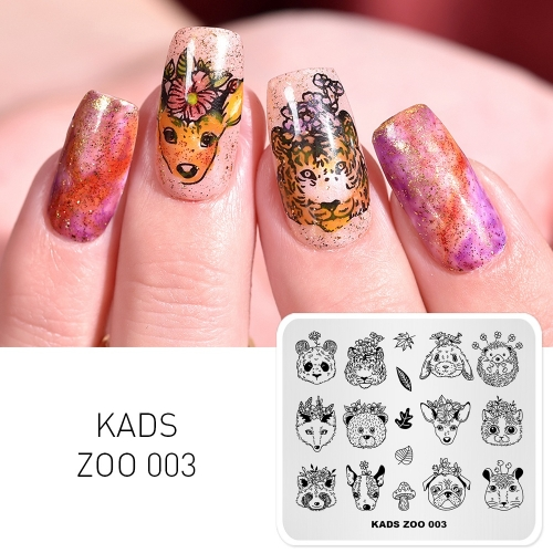 ZOO 003 Nail Stamping Plate Animals & Flower & Leaf & Mushroom