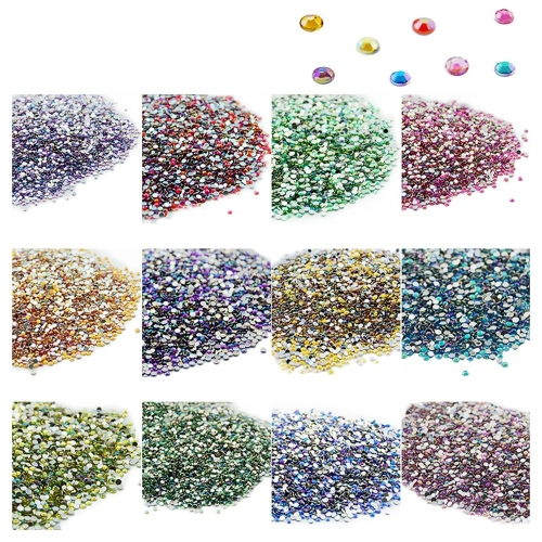 Round Nail Rhinestone 500Pcs/Pack Single Color 200011