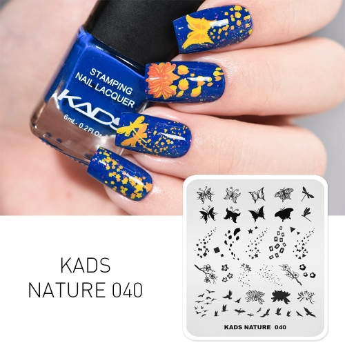 NATURE 040 Nail Stamping Plate Butterfly Chrysanthemum Eagle