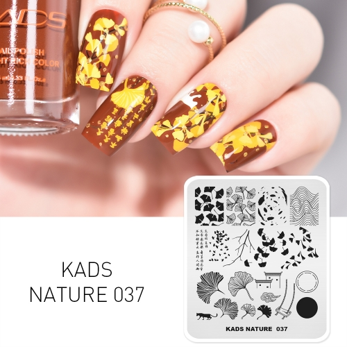 NATURE 037 Nail Stamping Plate Autumn Leaves Ginkgo
