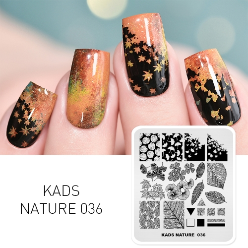 NATURE 036 Nail Stamping Plate Autumn Ginkgo Maple Leaf