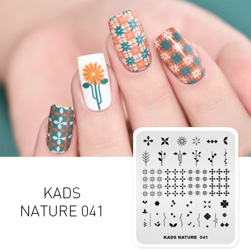 NATURE 041 Nail Stamping Plate Plaid Flower