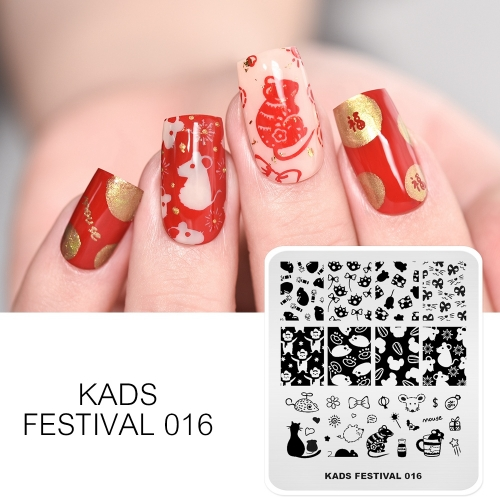 FESTIVAL 016 Nail Stamping Plate Festival Mouse New Year