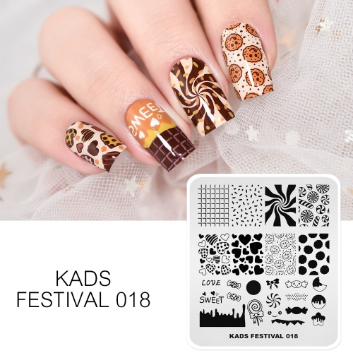 FESTIVAL 018 Nail Stamping Plate Festival Valentine's Day Chocolate Candy