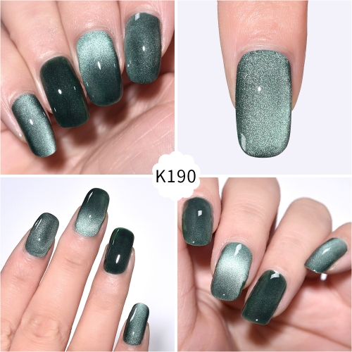 Meteorite Wide Cat Eye Gel Nail Polish Viridian Green