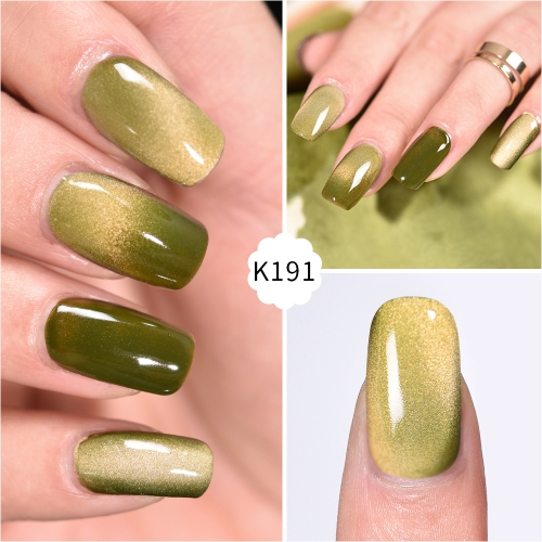 Meteorite Wide Cat Eye Gel Nail Polish Olive Green
