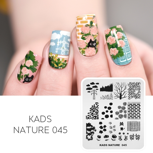 NATURE 045 Nail Stamping Plate Cloud & Flower & Hydrangea