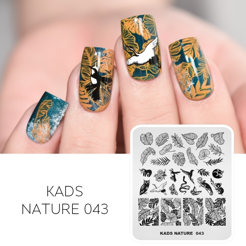 NATURE 043 Nail Stamping Plate Leaf & Animal