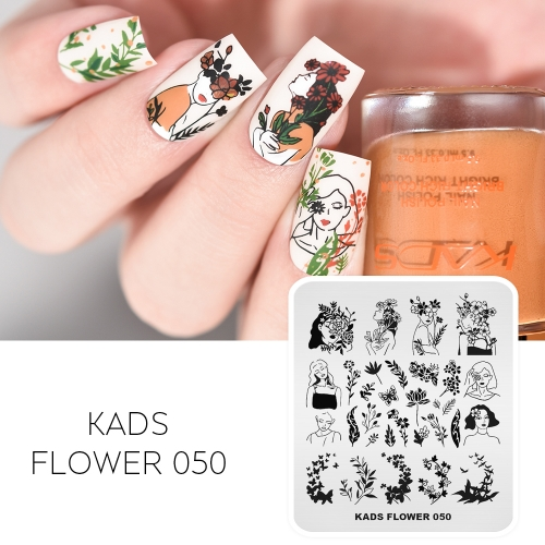 FLOWER 050 Nail Stamping Plate Girl & Flower & Butterfly