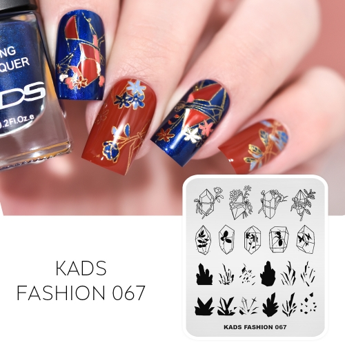 FASHION 067 Nail Stamping Plate Crystal & Amber & Flower