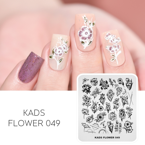 FLOWER 049 Nail Stamping Plate Flower & Geometry