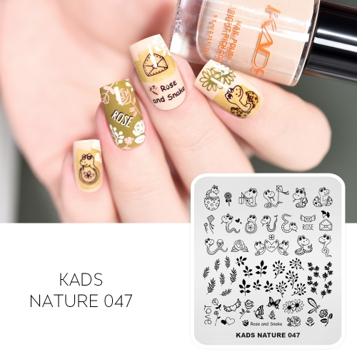 NATURE 047 Nail Stamping Plate Rose & Snakes