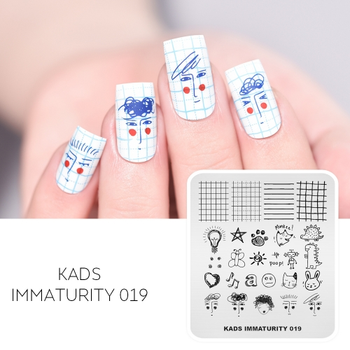IMMATURITY 019 Nail Stamping Plate Cute Stick figure