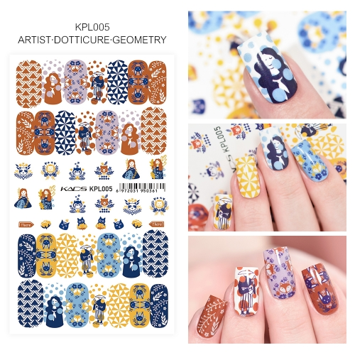 Water Transfer Nail Sticker Artist & Dotticure & Geometry