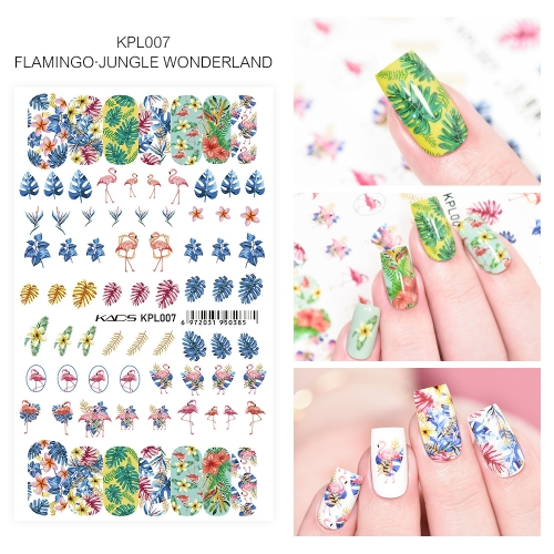 Water Transfer Nail Sticker Flamingo & Jungle wonderland