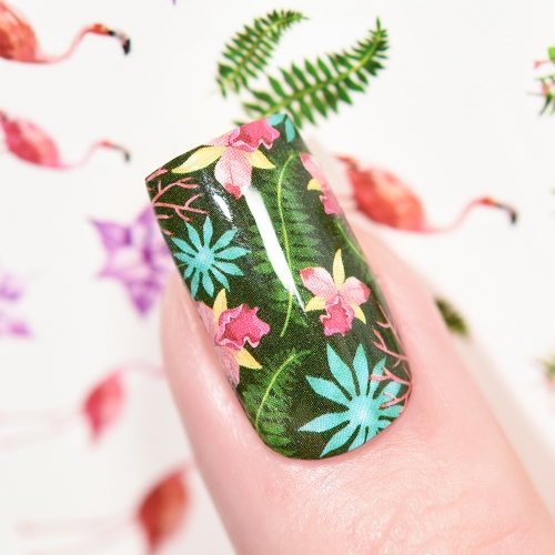 Water Transfer Nail Sticker Flamingo & Hot Summer