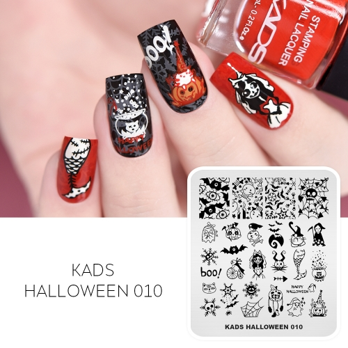 HALLOWEEN 010 Nail Stamping Plate Halloween Bat & Spider web & Magic