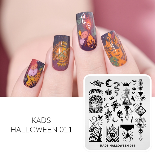 HALLOWEEN 011 Nail Stamping Plate Halloween Spider & Pumpkin & Magic