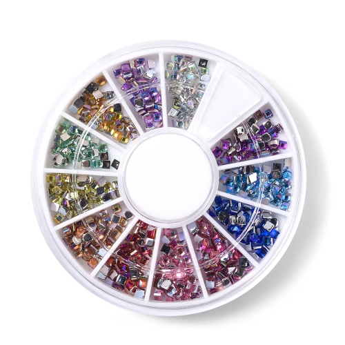 Square Shaped Nail Rhinestone 600Pcs/Box 12 Colors 200003