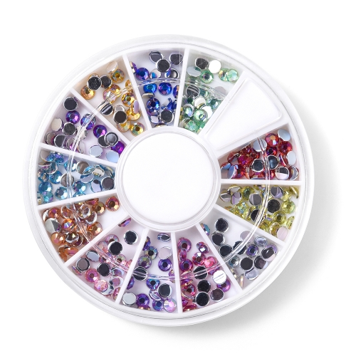 Round Nail Rhinestone 600Pcs/Box 12 Colors 200010