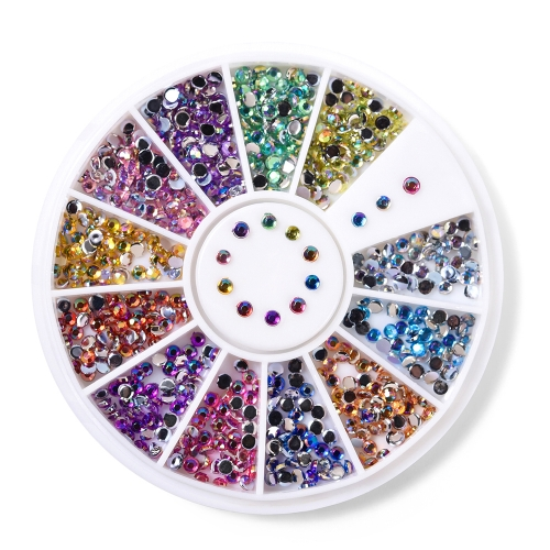 Round Nail Rhinestone 600Pcs/Box 12 Colors 200019