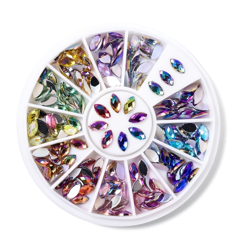 Leaf Shaped Nail Rhinestone 120Pcs/Box 12 Colors 200014