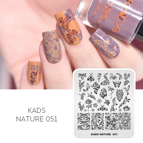 NATURE 051 Nail Stamping Plate Butterfly & Dragonfly & Flower & Bee & Peacock