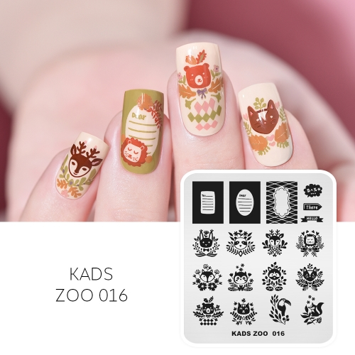 ZOO 016 Nail Stamping Plate Cute Bird & Rabbit & Lion & Fox