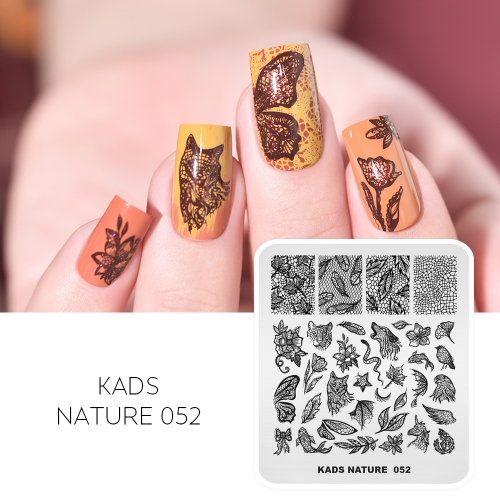 NATURE 052 Nail Stamping Plate Combination of Plants and Animals