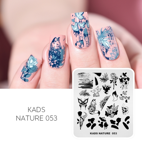 NATURE 053 Nail Stamping Plate Rose & Fox & Butterfly