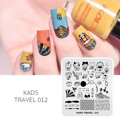 TRAVEL 012 Nail Stamping Plate Janpan Cute Cat & Fish