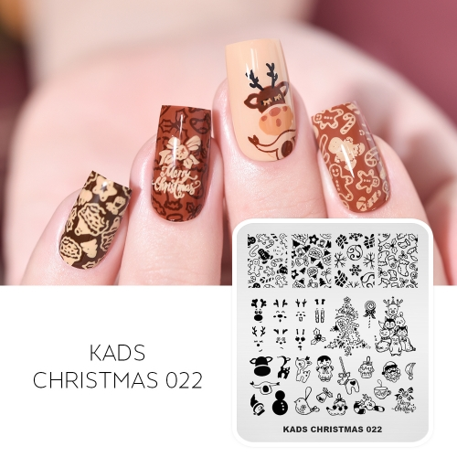 CHRISTMAS 022  Nail Stamping Plate Snowflakes & Bear & Elk & Candy & Bell
