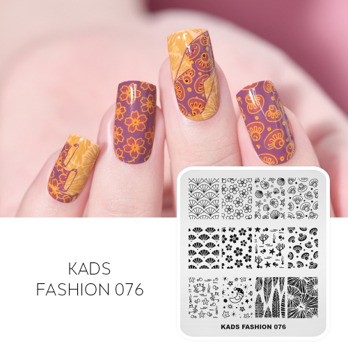 FASHION 076 Nail Stamping Plate Crab & Shell & Moon & Coral & Starfish
