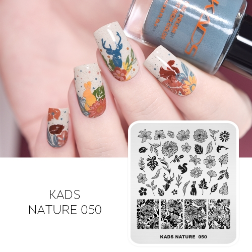 NATURE 050 Nail Stamping Plate Maple Leaf & Peach Blossom & Squirrel & Hedgehog & Dolphin