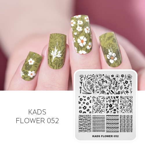 FLOWER 052 Nail Stamping Plate All Kinds of Flowers & Leaves
