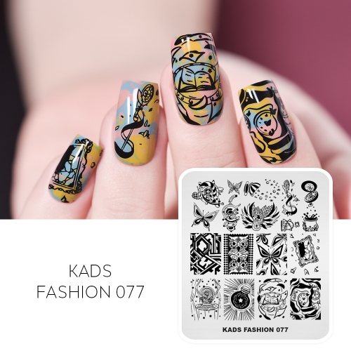 FASHION 077 Nail Stamping Plate Butterfly & Bird & Owl