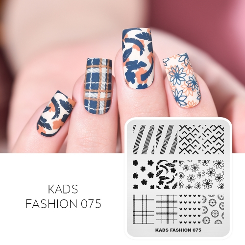 FASHION 075  Nail Stamping Plate Flower & Leaves & Heart