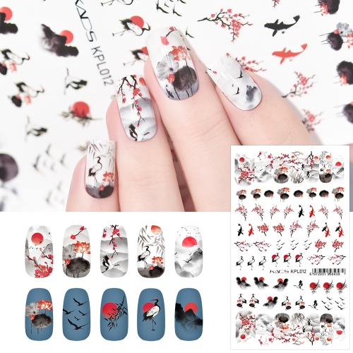 Water Transfer Nail Sticker Chinese Style Goldfish & Plum Blossom & Crane & Sunrise