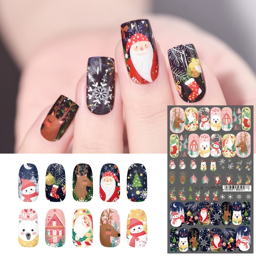 Water Transfer Nail Sticker Christmas Santa & Snowflake & Elk