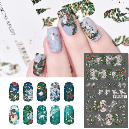 Water Transfer Nail Sticker Christmas Tree & Snowflakes