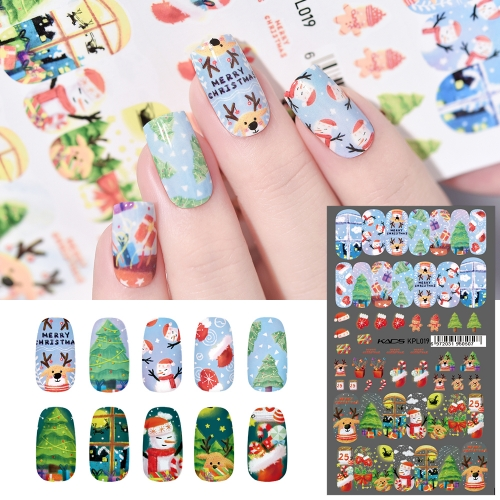 Water Transfer Nail Sticker Cute Snowman & Christmas Tree & Elk