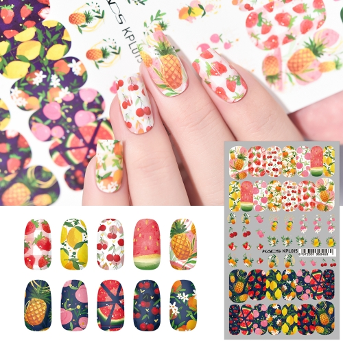 Water Transfer Nail Sticker Various Fruits Cherry & Orange & Watermelon & Pineapple