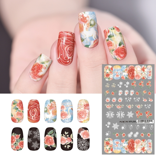 Water Transfer Nail Sticker Swan & Sika Deer & Rose Flower