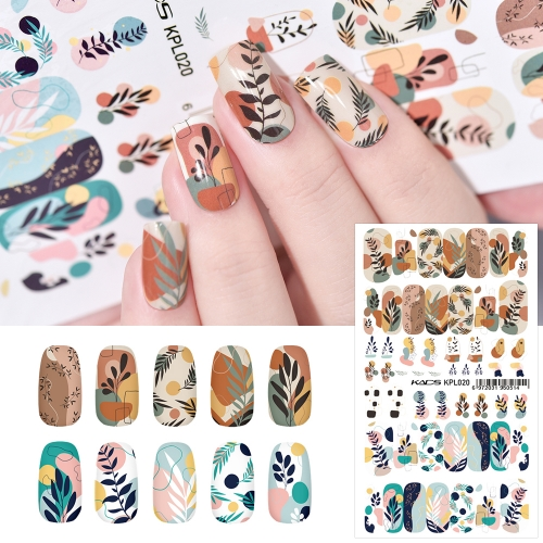 Water Transfer Nail Sticker Irregular Leaves & Patterns